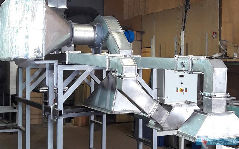 Стапель сборки системы охлаждения туннеля выгрузки рольганговой печи